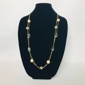 J. Crew Pearl & Crystal Ball Double Necklace #103
